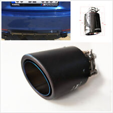 63-89mm Real Carbon Fiber Car SUV Blue Burnt Steel End Exhaust Muffler Tip Pipe