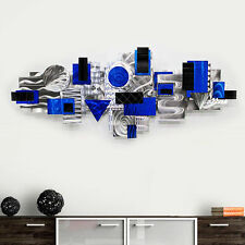 Silver/Blue Abstract 3D Metal Wall Sculpture Decor Accent Wall Art - Odyssey