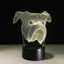 Night Light Touch Switch Acrylic Lamp LED Bulldog Dog Home Deco Lamp Gift