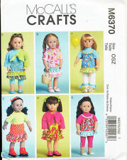 "MCCALL'S SEWING PATTERN 6370 18"" DOLL CLOTHES: TOPS DRESSES SKIRT PANTS LEGGINGS"