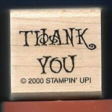 THANK YOU Swirls Print card back GIFT Price TAG NEW Stampin' Up! RUBBER STAMP
