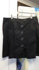 BNWOT tailored black stretch cotton skirt with silver button feature size 16