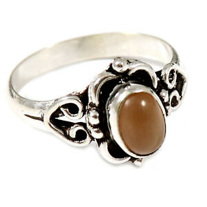 Peach Moonstone Solid 925 Sterling Silver Solitaire Ring Jewelry GESR186L