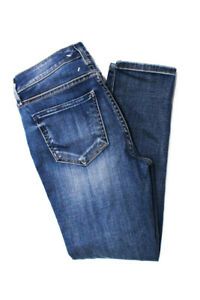 Habitual Womens Cropped Straight Leg Jeans Blue Cotton Distressed Size 25