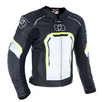 Oxford Strada Men's Leather Sports Motorcycle Motorbike Jacket Black White Fluo