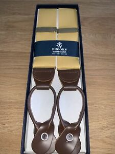 Brooks Brothers Mustard Yellow Braces BRAND NEW RRP £90 Brown Leather/ Button
