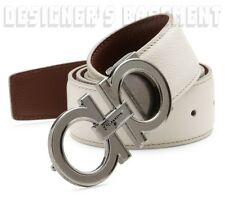 SALVATORE FERRAGAMO ivory to brown 40 Reversible GANCINI buckle Belt NWT Authent