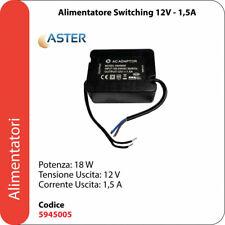 ASTER Alimentatore Impermeabile IP67 Trasformatore LED Telecamere 12V 1,5A 18W