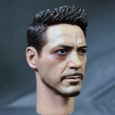 1/6 US team 3 Iron Man Tony head sculpt   carved war wounded version F figure
