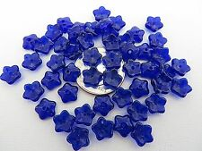50 Cobalt Blue Flower Caps Spacers Czech Glass Beads 7mm