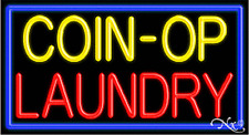 """BRAND NEW """"COIN-OP LAUNDRY"""" 37x20 W/BORDER REAL NEON SIGN w/CUSTOM OPTIONS 11063"""