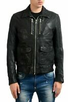 Just Cavalli Men's 100% Leather Black Full Zip Jacket US S IT 48
