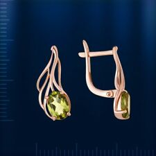 Russische Rose Rotgold 585 Ohrringe mit Peridot Neu Glänzend. Peridot earrings