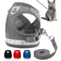 Reflective Mesh Cat Walking Harness and Leash Set Puppy Small Dog Vest Harnesses