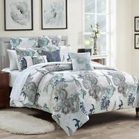 8Pcs Luxury Printed Microfiber Comforter Set Bed In A Bag,Queen Size,Yasmine