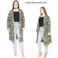 BOHO PLUS Mineral Washed Leopard Camo Pocket Open Front Cardigan Top 1X 2X 3X 4X