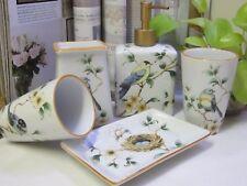 NEW -Bathroom Set- 5 Piece Ceramic-White background- Birds - Coloured top edge