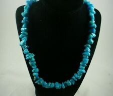"Authentic TURQUOISE Native American Southwestern 22"" Nugget Beaded Necklace"