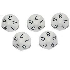 Poly Dice - White D10 x5, 10 Sided Dice 0-9