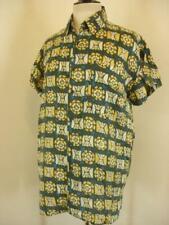 Men's S Vtg 1990's Hawaiian Aloha 100% Silk Shirt Joule Energy Short Sleeve Ikat