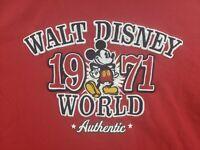 "Walt Disney World Authentic ""1971"" Shirt Embroidered Logo Size XXL Red Mickey"