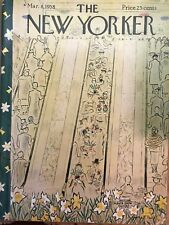 New Yorker March 8 1958 Complete Magazine Cover by Price  Flower show Escalators