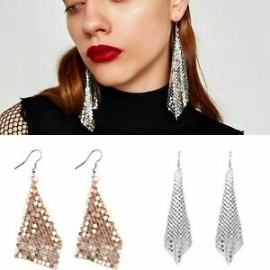 Mesh Chain Mail Sequin Earrings Silver Gold Black Pink Ear Drop Dangle Fashion