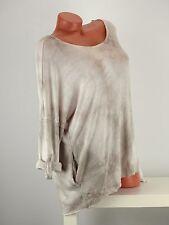 Langarmshirt Bluse Retro Größe 42-48 one size Batik braun beige Taschen Knöpfe w