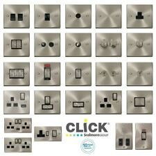 Click Deco Satin Chrome Black/White Inserts Sockets/Switches/Connection Units