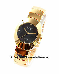 Omax Gents Diamonte Marker Black Dial Watch, Gold Finish, Seiko (Japan) Movt.