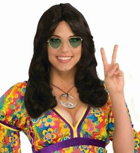 Brunette Flower Child Adult Costume Wig With Headband