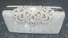 Unique Silver Diamante Diamond Crystal Evening bag Clutch Purse Party Wedding