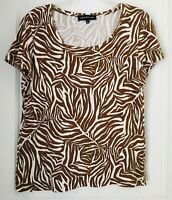 Jones New York Womens Size Large Brown & White Short Sleeve Top Blouse
