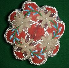 Antique Scalloped Edge Flower Shaped Beaded Cushion Tourist Souvenir Wimsey