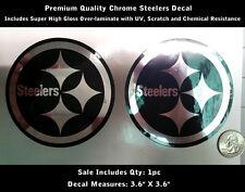 Steelers Decal Football Chrome & Black Sticker Premium Quality Laminated 0124