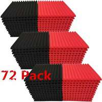 "72 Pack Acoustic Foam Panel 1"" X 12"" X 12"" Wedge Studio Soundproofing Wall Tiles"