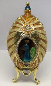 Hand Painted Enameled Faberge Egg Style Decorative Hinged Jewelry Trinket