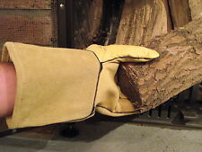 Haut Gants Protection Mitaine de four, cuir véritable, 35 cm de longueur