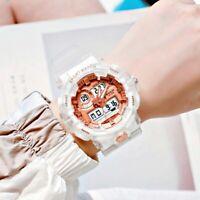 Unisex Stylish Rose Gold Face Plastic Band White Casual Electronic Sport Watches