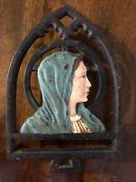 RARE ANTIQUE CAST IRON CATHOLIC VIRGIN MARY METAL DECORATION