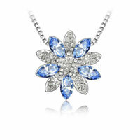"18K White Gold Plated Rose Flower Necklace in 18"" for Women Blue Flower Pendant"