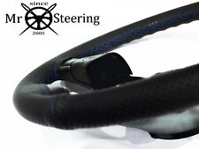 PERFORATED LEATHER STEERING WHEEL COVER FOR VW PASSAT B6 05-10 R BLUE DOUBLE STT