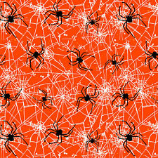 Orange Spiders Web - Halloween Fabric Material