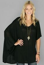 NWT Planet Blue Blue Life Blu Moon Black Asymmetrical Kaftan Top Tee M/L Gypsy