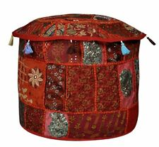 """18"""" Red Vintage Ottoman Pouf Cover Round Footstool Indian Cotton Handmade Throw"""