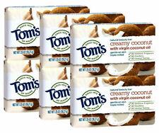 6 Tom's of Maine Natural Beauty Skin Bar Soap Creamy Coconut Virgin Oil 1.35 oz