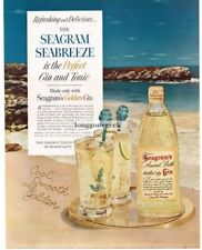1954 SEAGRAM's Ancient Bottle GIN and Tonic Cool On Sandy Beach Vtg Print Ad