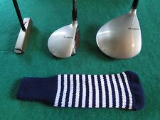 New knitted zebra style Fairway & Driver club head cover Navy / Optic White