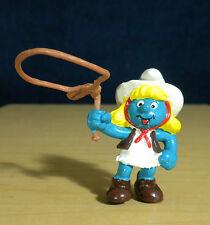 Smurfs Cowgirl Smurfette Figure Vintage Smurf Toy Figurine Cowboys Lasso 20147