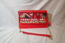 nwt betsey johnson satchel,hanbag,tote,SHOULDER GOLD CHAIN,PLAYGROUND,PINK,FLOWE